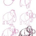 Dibujo a lápiz mamut